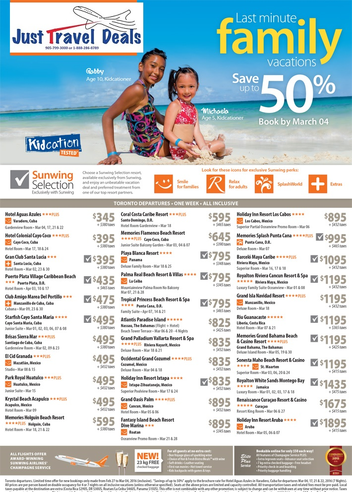 Last Minute Family Vacations Up To 50 Off Departure From
