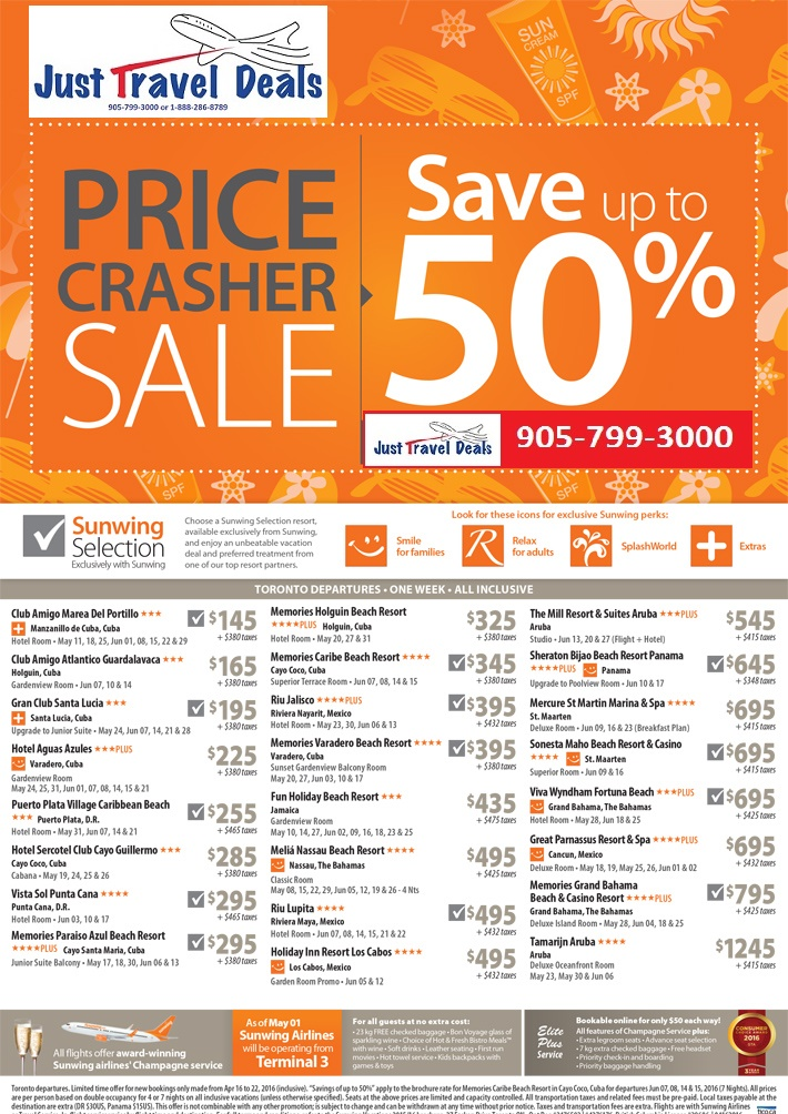 Price Crasher Sale Save Big On Popular Vacation Packages