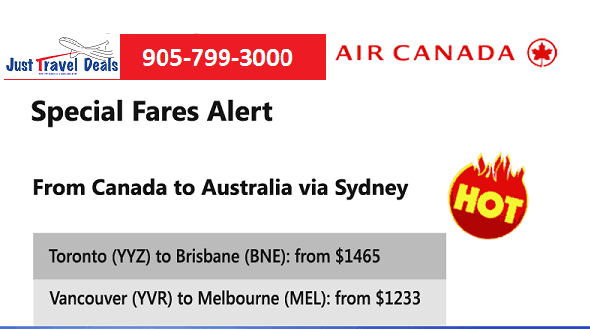 Special Fares Alert Air Canada Flights To Brisbane And