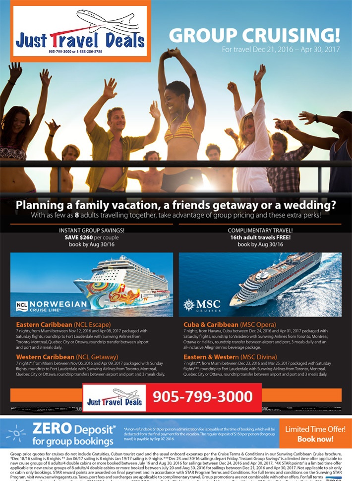 Experience A Group Cruise With Sunwing Vacations