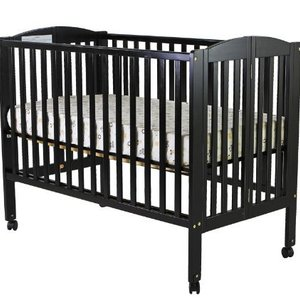 Dream on me full size 2 in 1 folding stationary side crib  black 2