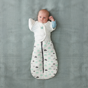 Butterfly cardi white clouds swaddle 1 arm in