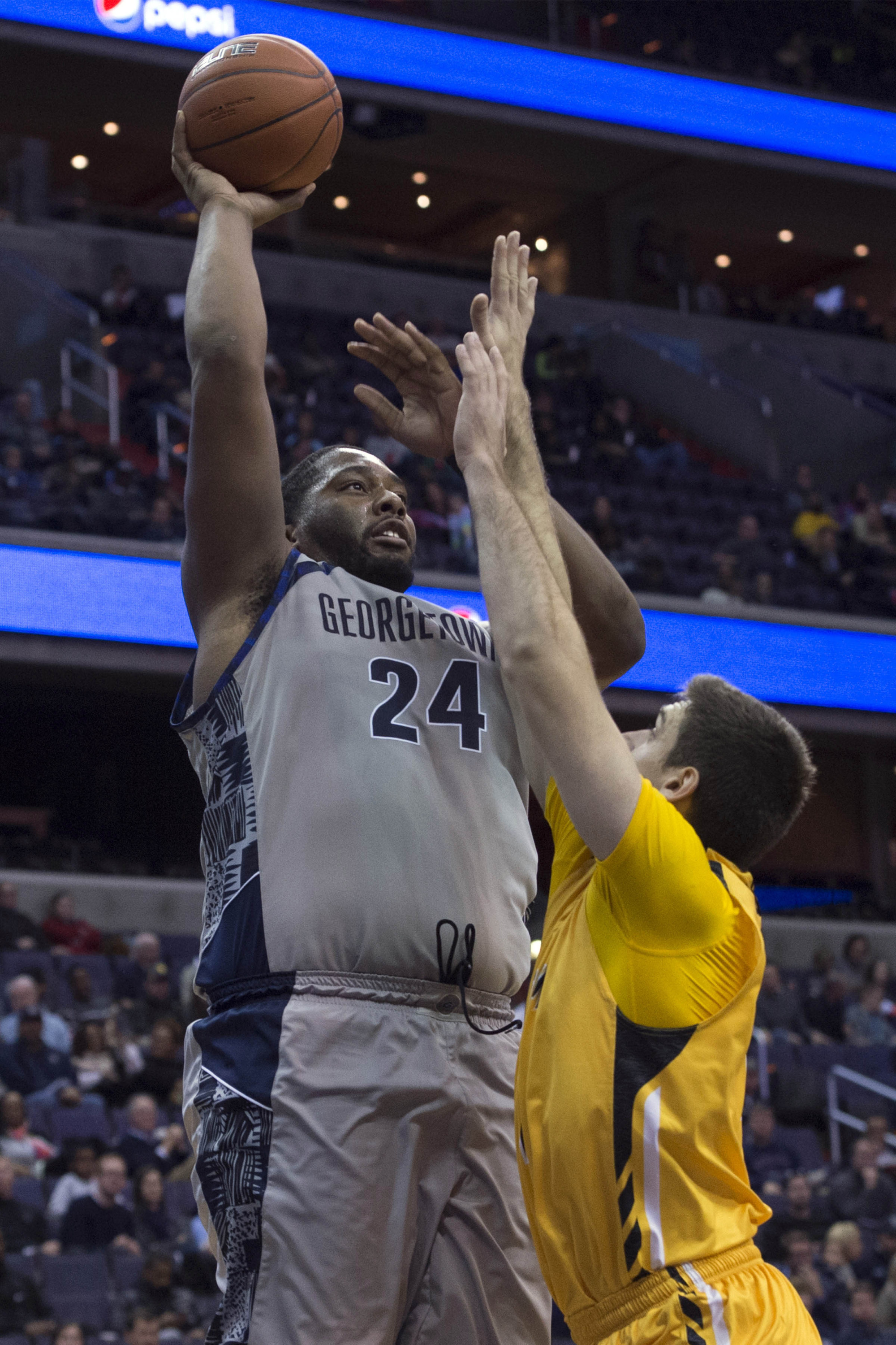 The Georgetown University men's basketball team met with the media on Tuesday afternoon and held final preparations as the Hoyas readied for a matchup against No. 10/10 Kansas on Wednesday, Dec. 10 at Verizon Center.