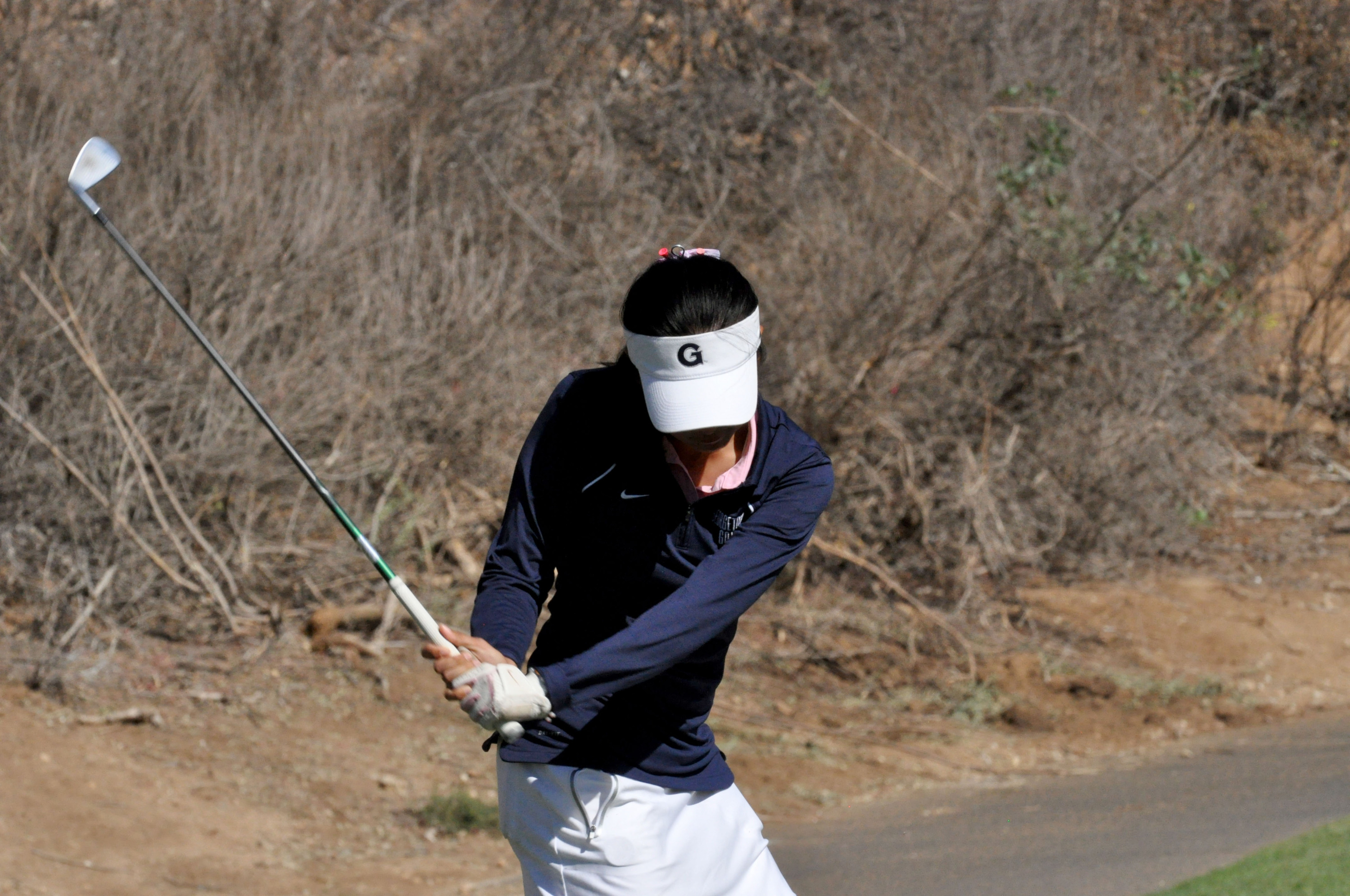 The Georgetown women's golf team shot a 26-over par 314 in the first round of play at the JMU Eagle Landing Invitational.  The three-day, 54-hole tournament, hosted by James Madison University, is being played at Eagle Landing Golf Club (Par 72 - 6,208 yards) in Orange Park, Fla.