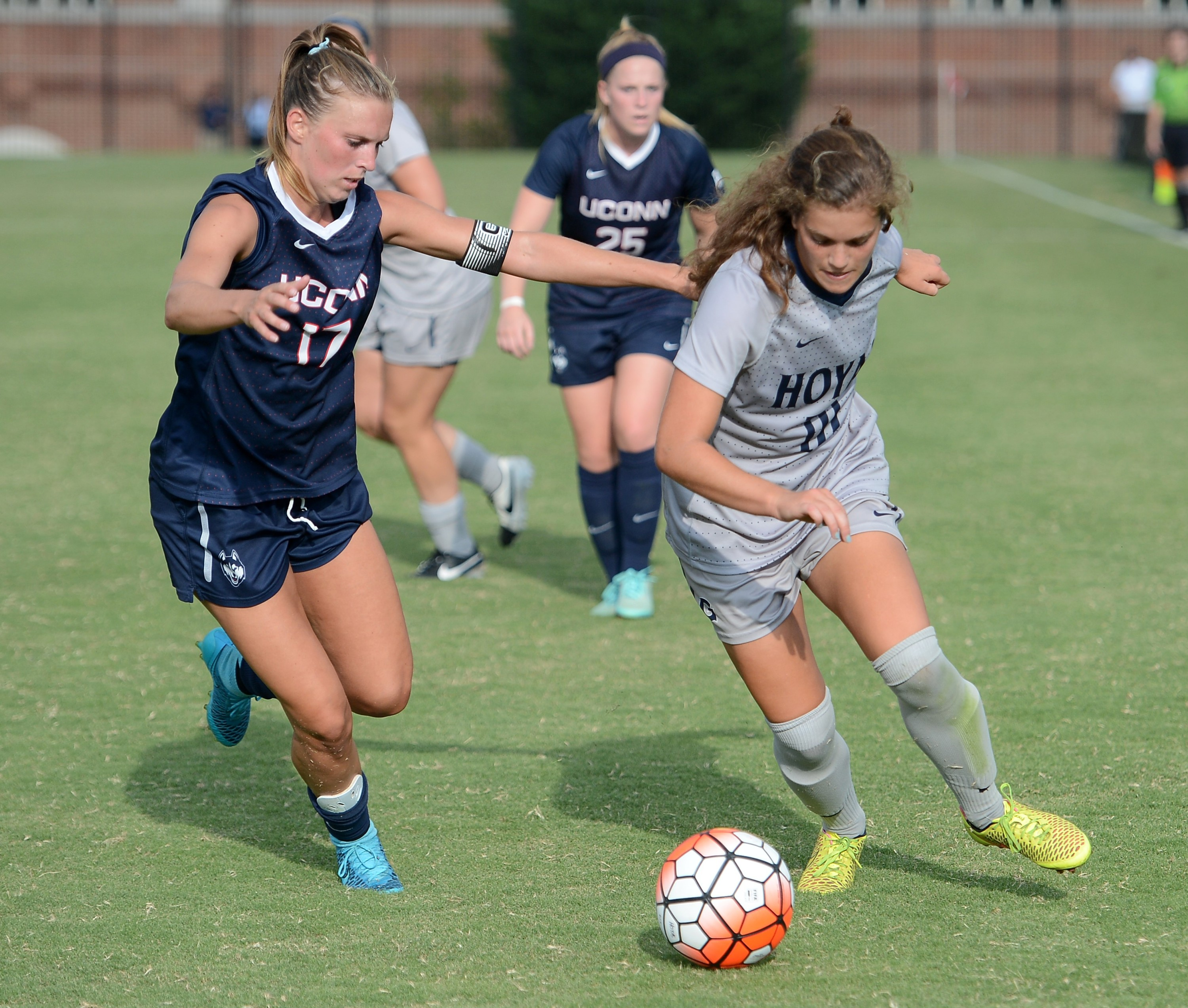The Georgetown University women's soccer team took an early lead and had several chances to break a tie in the second overtime, but could not score the go-ahead goal as the Hoyas played to a 1-1 double overtime tie at DePaul on Sunday afternoon.