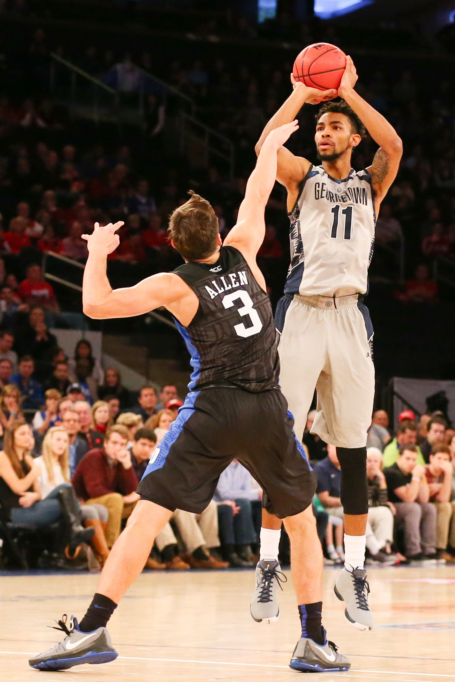 Georgetown rallied from a nine-point deficit to pull within one point and had a jumper from sophomore forward Isaac Copeland (Raleigh, N.C./Brewster Academy [N.H.]) fall just short at the buzzer as the Hoyas lost to No. 5 Duke, 86-84, in the championship game of the 2K Classic at Madison Square Gardeh Sunday afternoon.