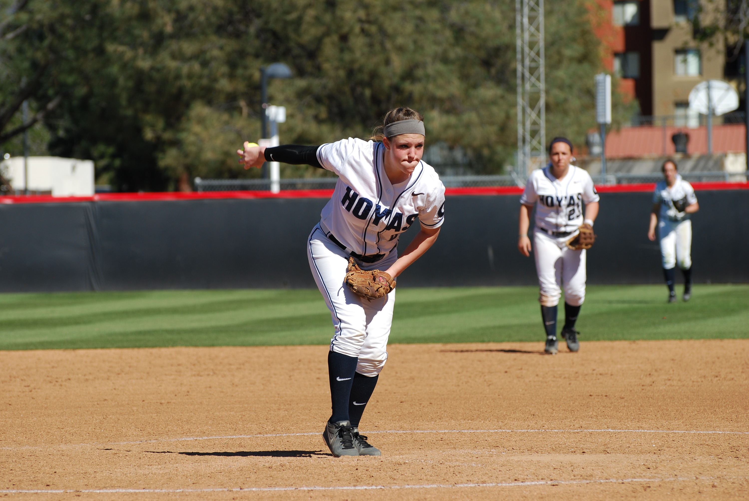 <b> Senior pitcher Megan Hyson leads the Hoyas in batting average after four games, sitting at .500 with six hits.<b>