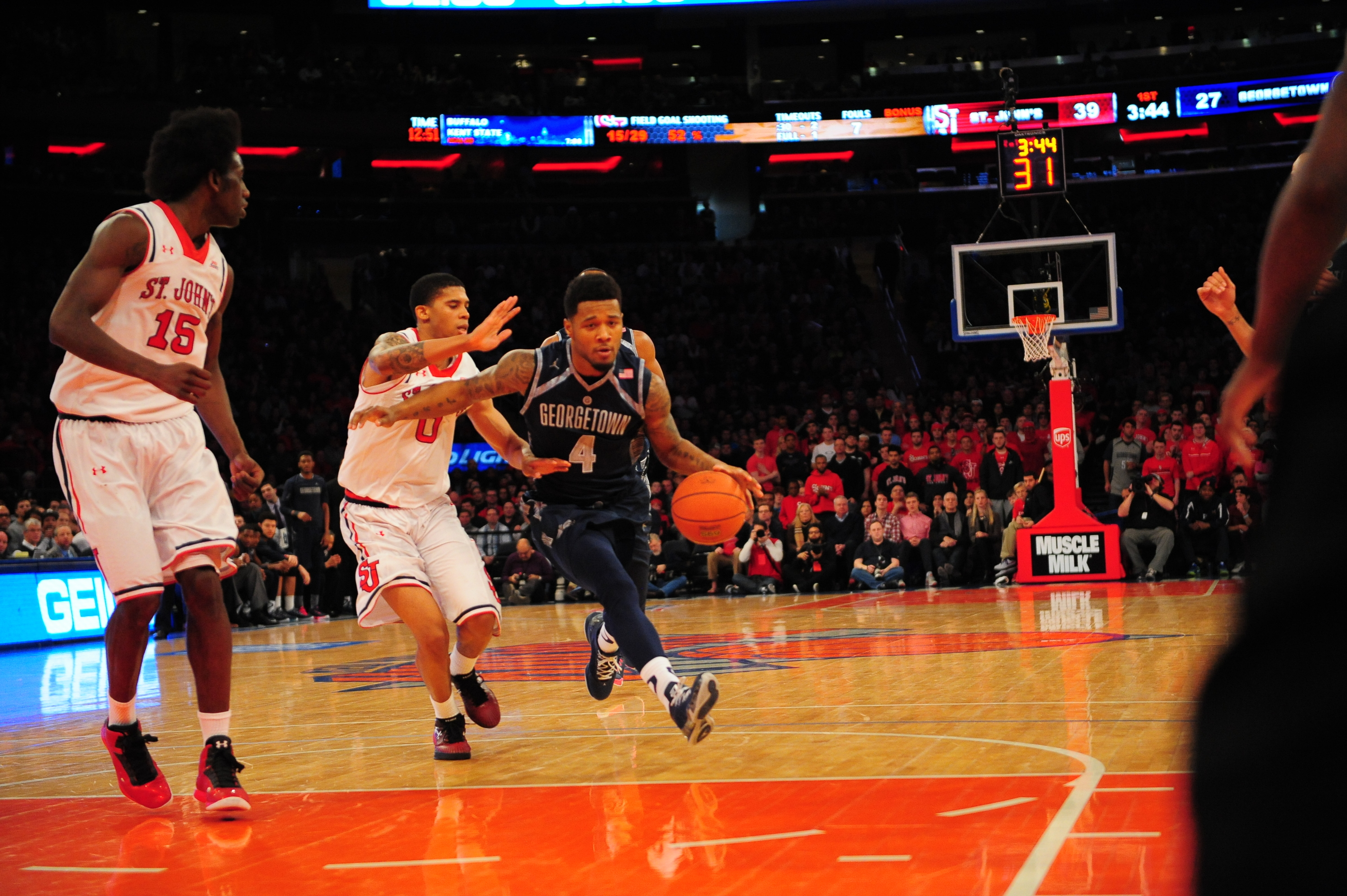 Junior guard D'Vauntes Smith-Rivera scored 29 points in Georgetown's loss to St. John's.