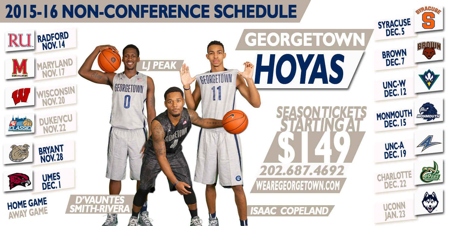georgetown releases non-league schedule for 2015-16 - georgetown