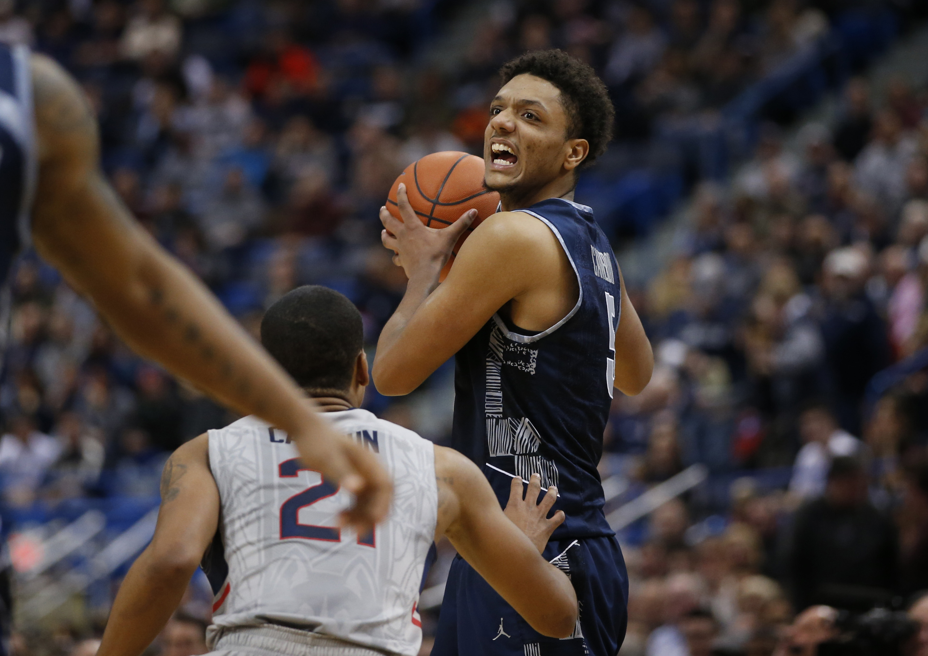 Georgetown used a second half run to take a four-point lead with six minutes left, but UConn outscored the Hoyas 12-2 over the final minutes and hung on for a 68-62 win at the XL Center Saturday afternoon.
