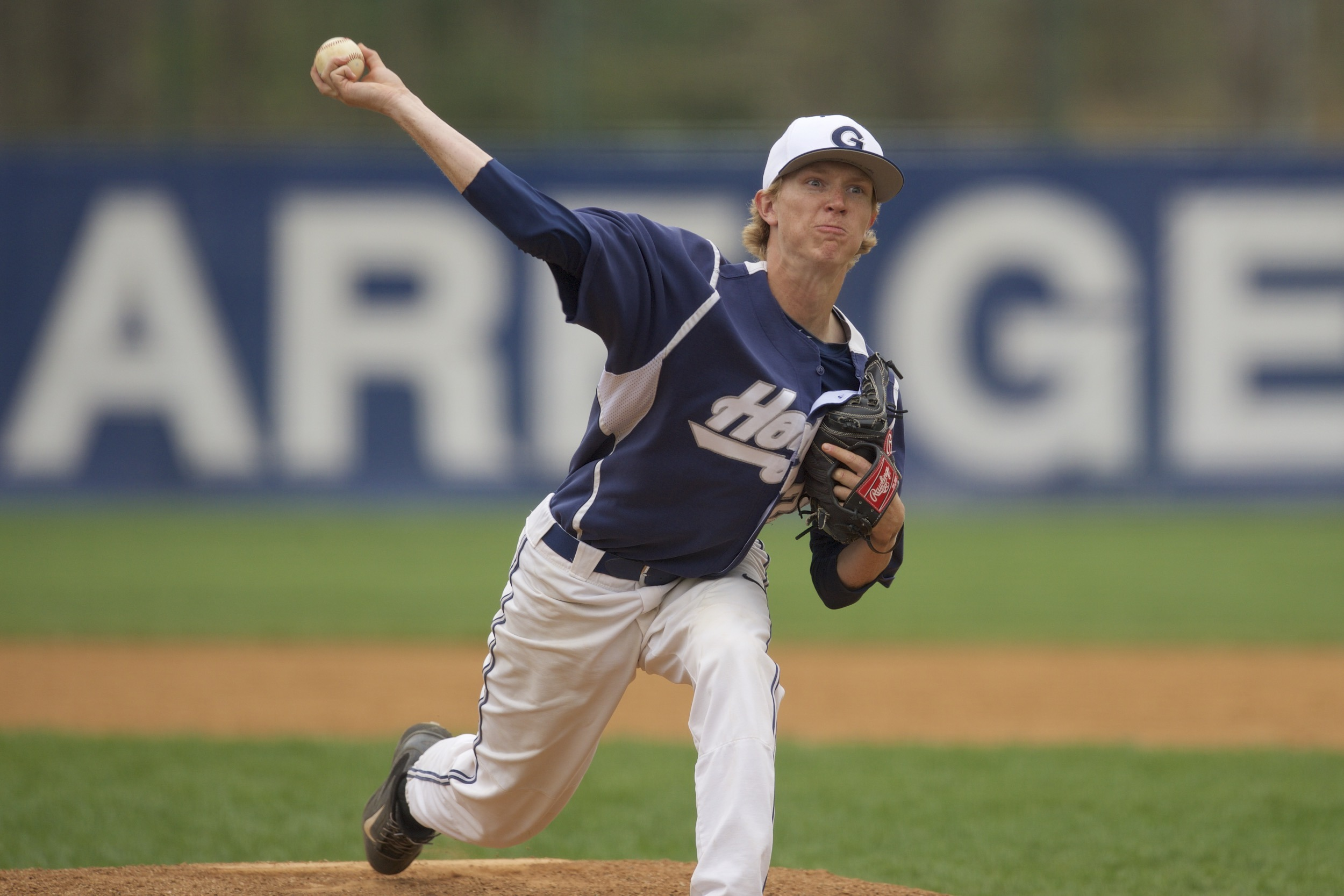 Simon Mathews fired his third-consecutive complete game in game one.