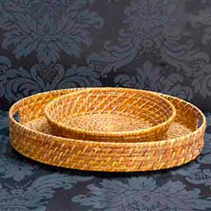 Bandejas de rattan redondas -locação de peças decorativas