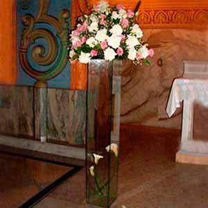Coluna de vidro p/ altar iluminada-vendas de peças para decoração