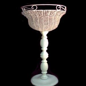 Vaso cristal com pé de madeira GG-vendas de peças para decoração