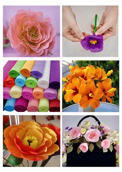 Decorações com flores de Crepom - ETAF