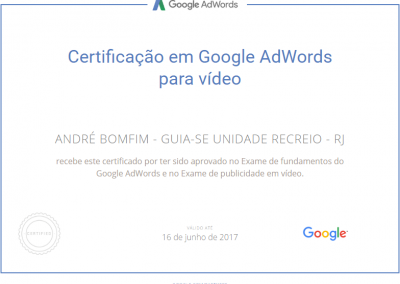 Guia-se Unidade Recreio - Google Adwords - Certificado - Publicidade para vídeo