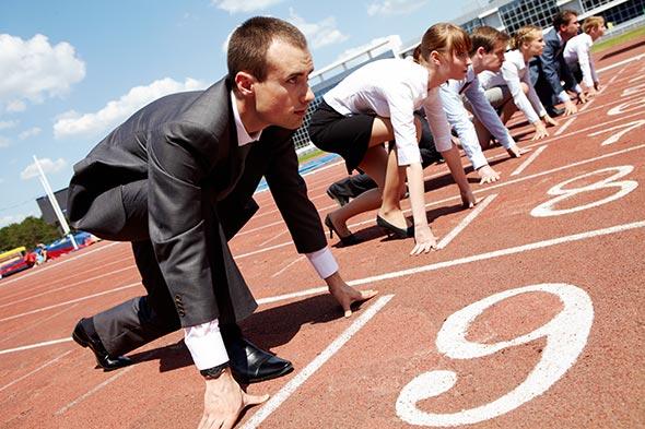Profissionais competindo