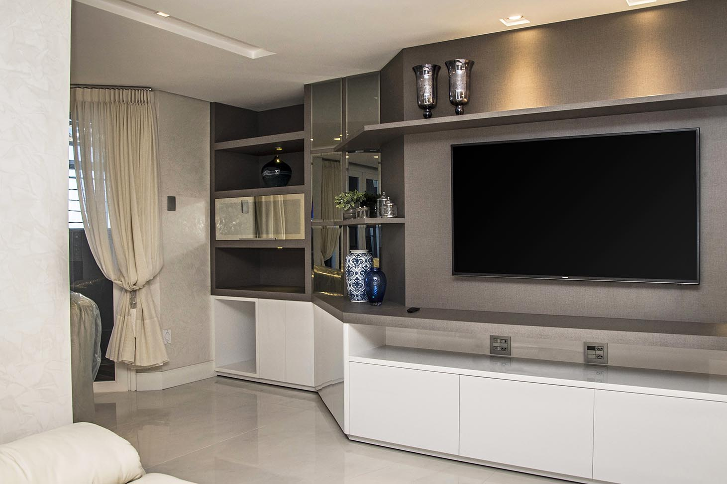 Modelo De Sala Planejada Sala Planejada Com Cozinha Painel Para  -> Ver Sala Planejada