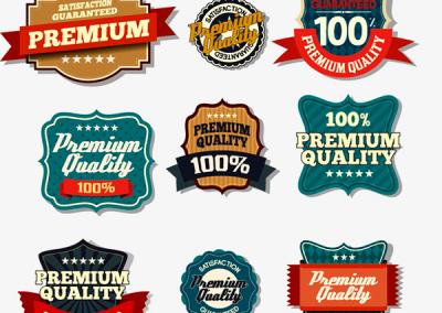Etiquetas de qualidade, garantia ou promocional
