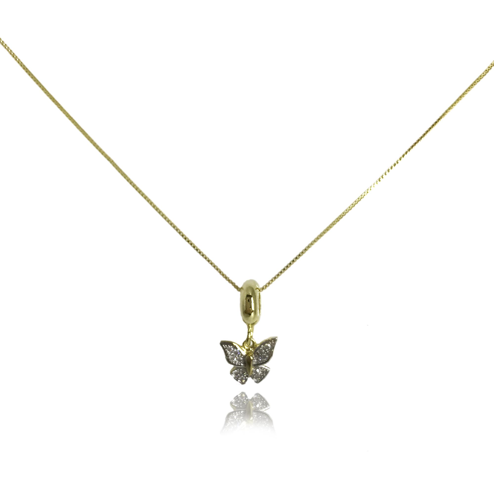 Corrente folheada a ouro com pingente em formato de borboleta folheado a ouro 18K