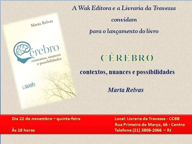 """Convite para lançamento do livro """"Cérebro: contexto, nuances e possibilidades"""""""