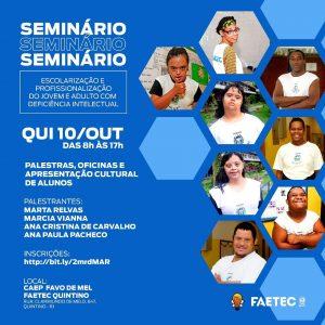 Cartaz do Seminário Escolarização e Profissionalização do Jovem Adulto com Deficiência Intelectual