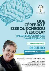Cartaz da palestra Bases Neurocientíficas da Aprendizagem no Espaço Saber