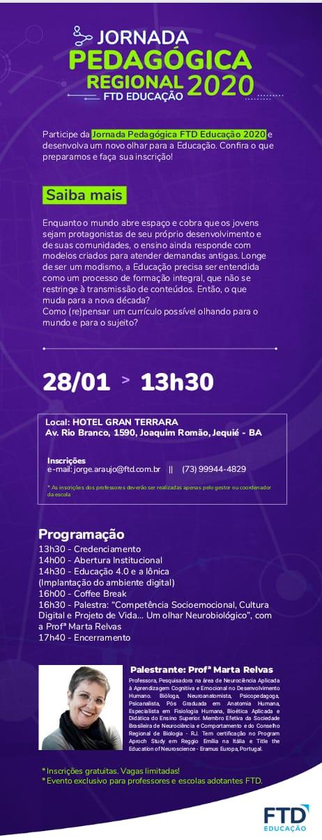 cartaz da Jornada Pedagógica Regional 2020 FTD Educação em Jequié BA