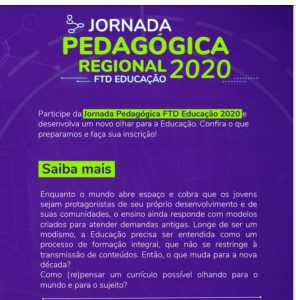 Cartaz da Jornada Pedagógica Regional 2020 2