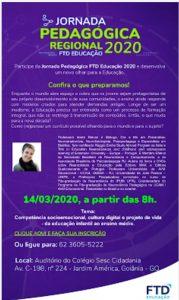 cartaz da Jornada Pedagógica Regional 2020 Goiânia