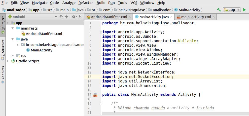 Estrutura básica do app analisador