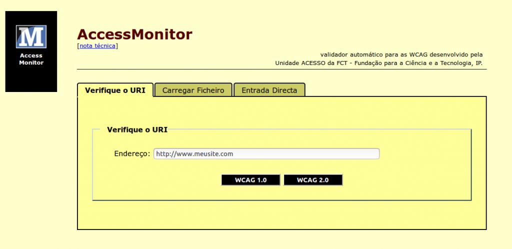 Página incial do Access monitor para você inserir sua URL e testar de acordo com as diretrizes de acessibilidade.