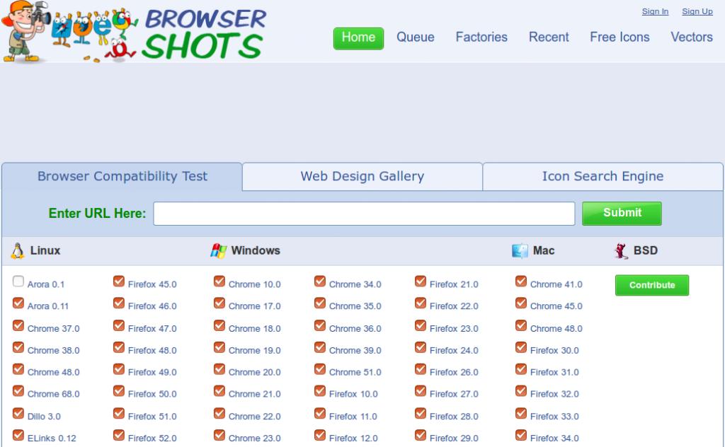 BrowserShots. Na primeira tela você filtra os sistemas e navegadores nos quais quer testar.