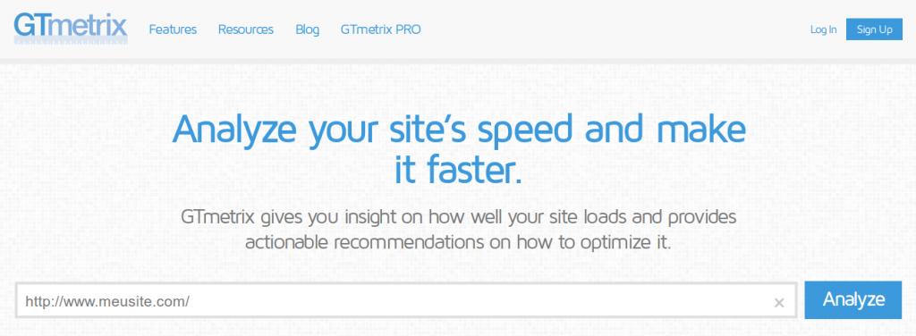 GTMetrix Passo 1 - Acessar o site e inserir a URL