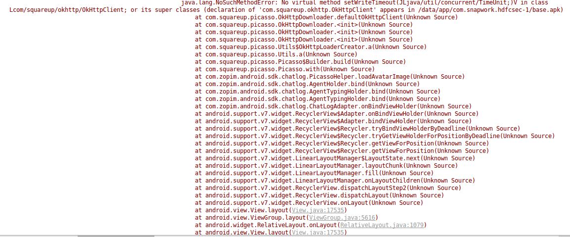 App crashing after receiving message - OkHTTP