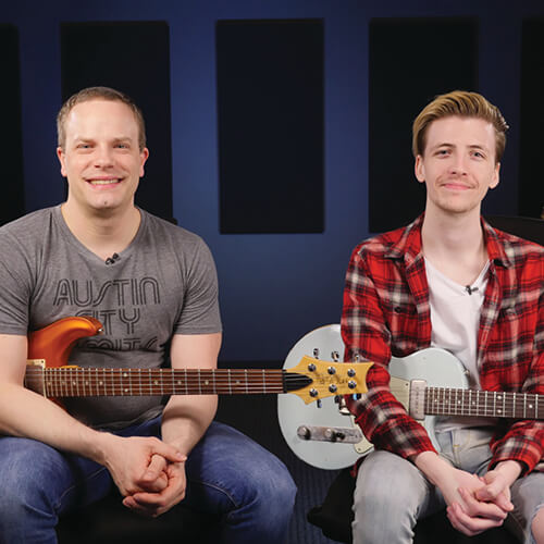 Nate and Andrew teach guitar lessons for Guitareo