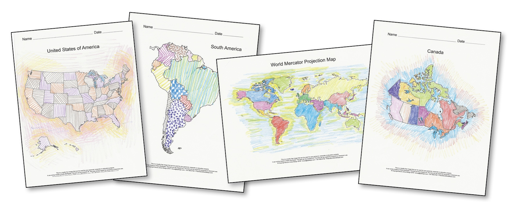 World of Maps PDF Printable Map Bundle, 4 Collections in One