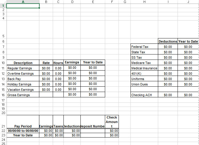 Payroll Check Payroll Check Stub Template Excel