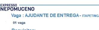 AJUDANTE DE ENTREGA (ITAPETINGA)