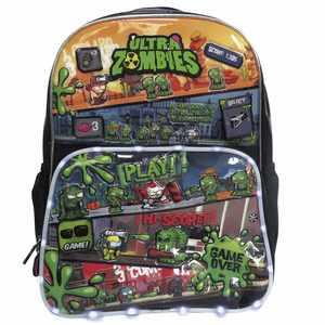 """Mochila Ultra Zombies Juego 16"""" Con Luz Original"""