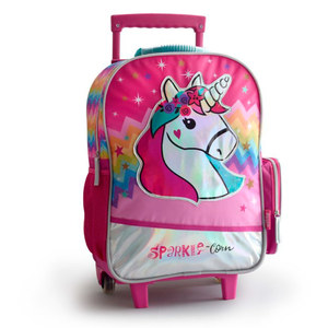 "Mochila Unicornio 18"" con Carrito Luces Led Back Up Original"