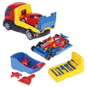 Camion Transportador 37cm + 2 Autos + Herramientas