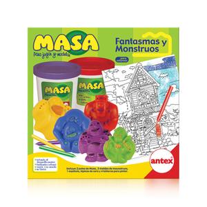 Masa Monstruos y Fantasmas 2 Potes Moldes Crayones y Tableros para Pintar