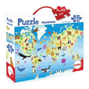 Puzzle Rompecabezas Mapamundi 36 piezas super resistentes