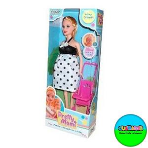 Muñeca Ditoys Pretty Mami Doll Embarazada + Bebé + Cochecito
