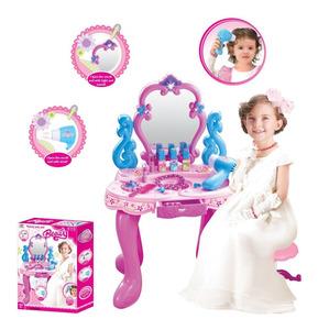 Tocador de Princesas Luces y Sonidos Maquillaje 12 Accesorios Secador a pilas