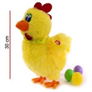 Peluche Gallina Pone Huevos Con Sonido Y Movimiento 30 Cm