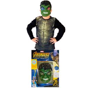 Set Remera y Mascara Hulk con Luz Talle Unico 6 a 8 Años Original