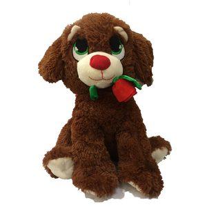 Peluche Peludito Perro con Rosa Extra Suave 38cm