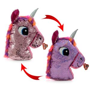 Cabeza Almohadon Unicornio Con Lentejuelas